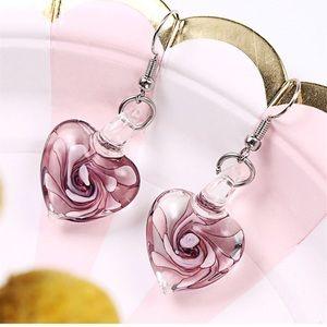 Gorgeous Stunning Glass Heart Earrings